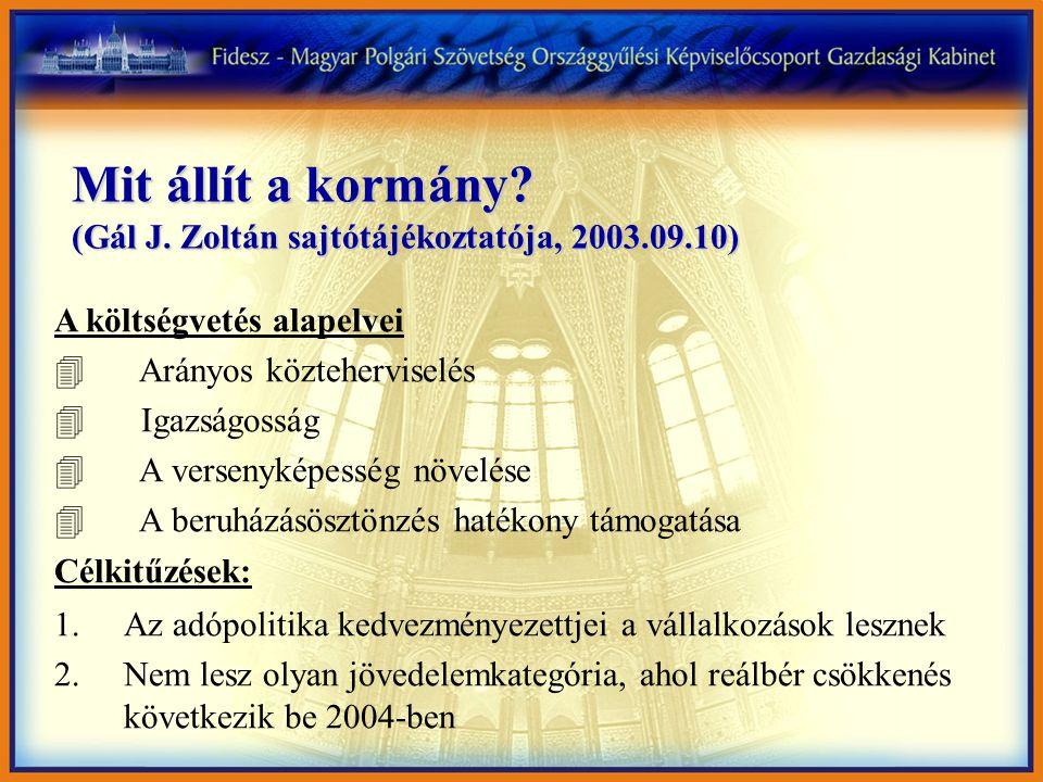 Mit állít a kormány? (Gál J. Zoltán sajtótájékoztatója, 2003.09.10) A költségvetés alapelvei 4 Arányos közteherviselés 4 Igazságosság 4 A versenyképes
