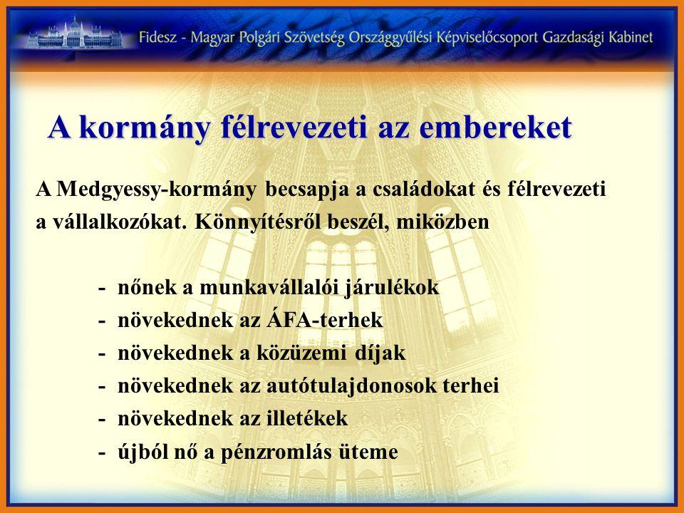 A kormány félrevezeti az embereket A Medgyessy-kormány becsapja a családokat és félrevezeti a vállalkozókat.