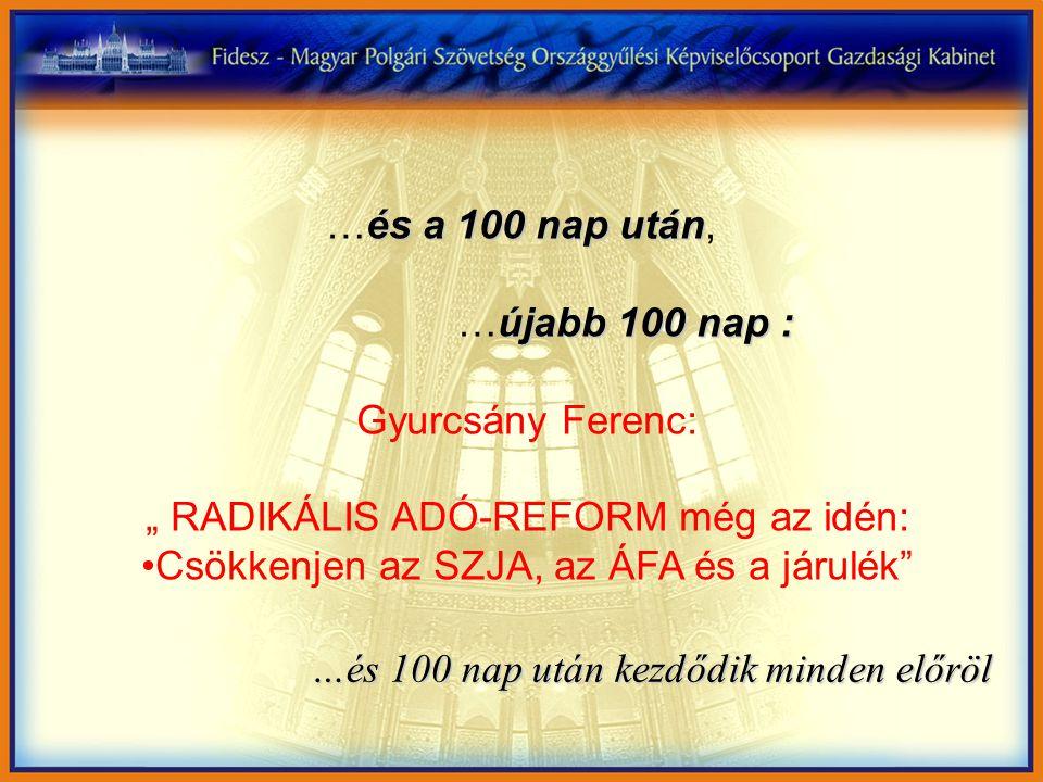 """és a 100 nap után …és a 100 nap után, újabb 100 nap : …újabb 100 nap : Gyurcsány Ferenc: """" RADIKÁLIS ADÓ-REFORM még az idén: Csökkenjen az SZJA, az ÁFA és a járulék …és 100 nap után kezdődik minden előröl"""