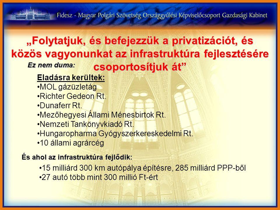 """""""Folytatjuk, és befejezzük a privatizációt, és közös vagyonunkat az infrastruktúra fejlesztésére csoportosítjuk át Eladásra kerültek: MOL gázüzletág Richter Gedeon Rt."""