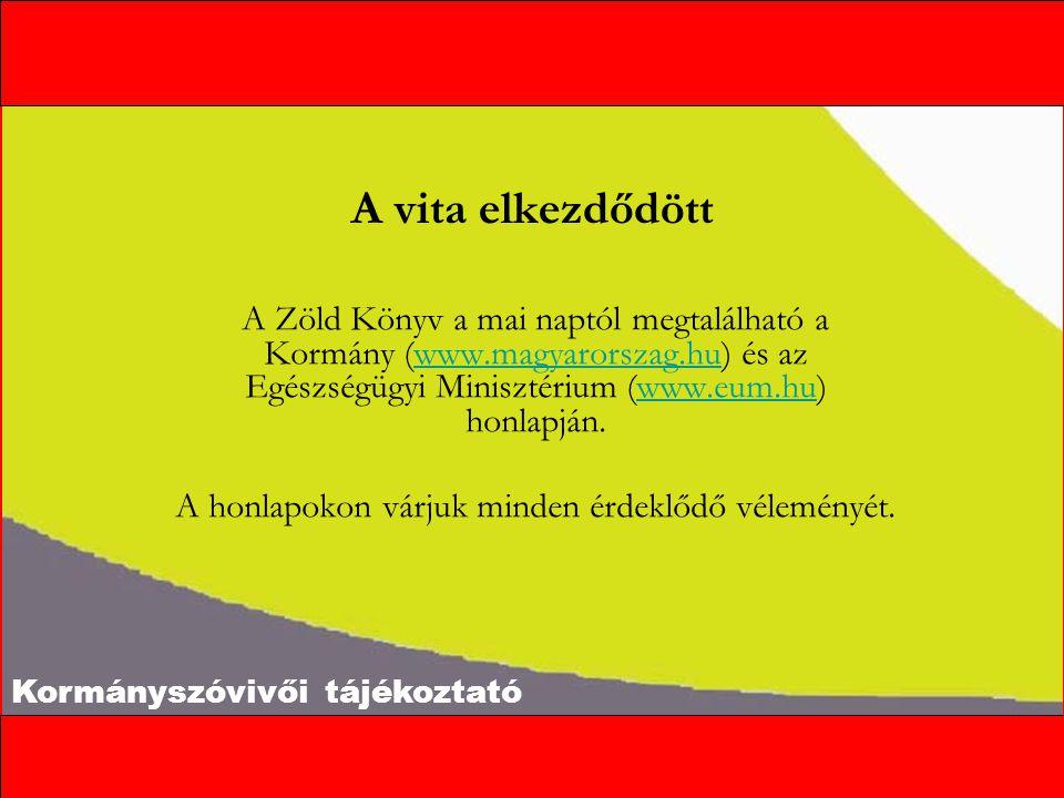 Kormányszóvivői tájékoztató A vita elkezdődött A Zöld Könyv a mai naptól megtalálható a Kormány (www.magyarorszag.hu) és az Egészségügyi Minisztérium (www.eum.hu) honlapján.www.magyarorszag.huwww.eum.hu A honlapokon várjuk minden érdeklődő véleményét.