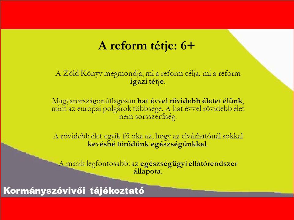 Kormányszóvivői tájékoztató A reform tétje: 6+ A Zöld Könyv megmondja, mi a reform célja, mi a reform igazi tétje.