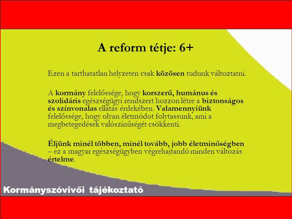 Kormányszóvivői tájékoztató A reform tétje: 6+ Ezen a tarthatatlan helyzeten csak közösen tudunk változtatni.