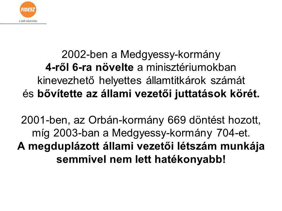 2002-ben a Medgyessy-kormány 4-ről 6-ra növelte a minisztériumokban kinevezhető helyettes államtitkárok számát és bővítette az állami vezetői juttatások körét.