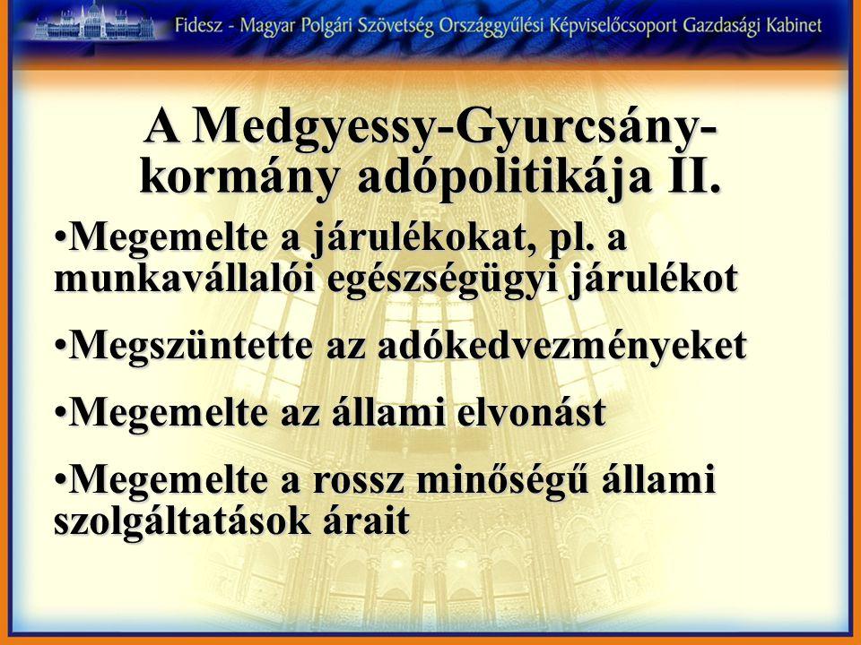 A Medgyessy-Gyurcsány- kormány adópolitikája II. Megemelte a járulékokat, pl.