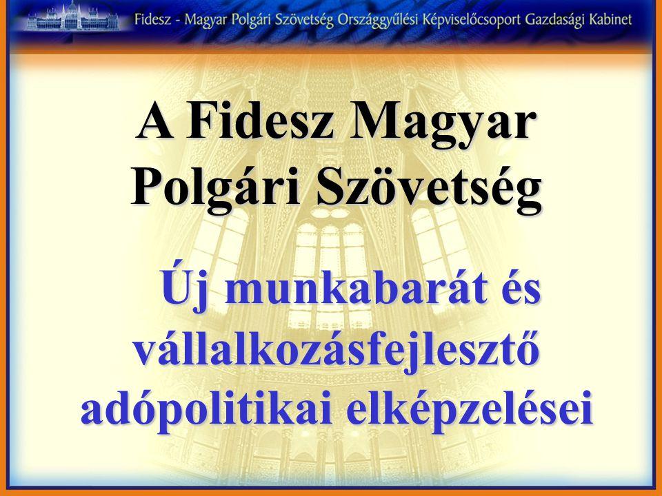 A Fidesz Magyar Polgári Szövetség Új munkabarát és vállalkozásfejlesztő adópolitikai elképzelései Új munkabarát és vállalkozásfejlesztő adópolitikai elképzelései