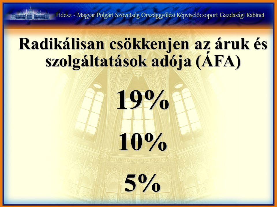 Radikálisan csökkenjen az áruk és szolgáltatások adója (ÁFA) 19%10%5%