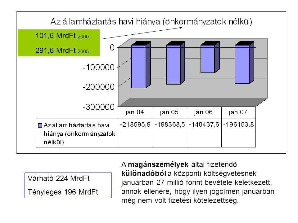 Várható 224 MrdFt Tényleges 196 MrdFt A magánszemélyek által fizetendő különadóból a központi költségvetésnek januárban 27 millió forint bevétele keletkezett, annak ellenére, hogy ilyen jogcímen januárban még nem volt fizetési kötelezettség.
