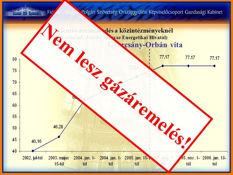 Jelentős áremelkedés a közintézményeknél (Forint/m 3, Forrás: Magyar Energetikai Hivatal) Gyurcsány-Orbán vita Nem lesz gázáremelés!