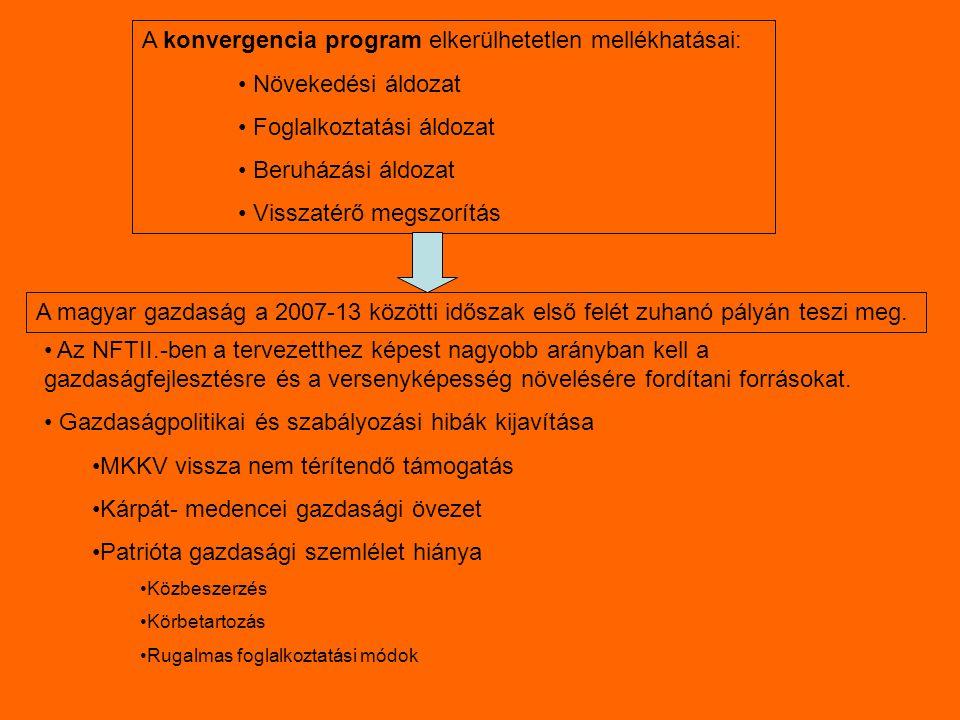 A konvergencia program elkerülhetetlen mellékhatásai: Növekedési áldozat Foglalkoztatási áldozat Beruházási áldozat Visszatérő megszorítás A magyar gazdaság a 2007-13 közötti időszak első felét zuhanó pályán teszi meg.