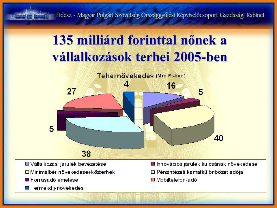 135 milliárd forinttal nőnek a vállalkozások terhei 2005-ben