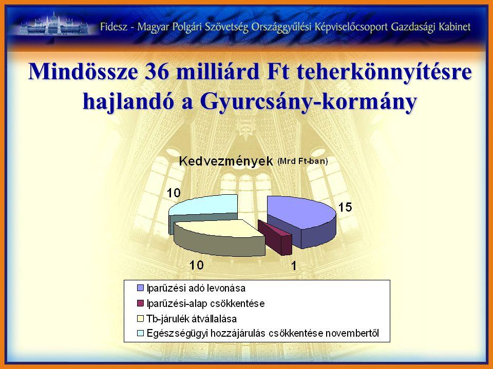 Mindössze 36 milliárd Ft teherkönnyítésre hajlandó a Gyurcsány-kormány