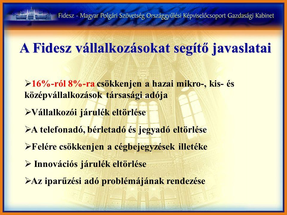 A Fidesz vállalkozásokat segítő javaslatai  16%-ról 8%-ra csökkenjen a hazai mikro-, kis- és középvállalkozások társasági adója  Vállalkozói járulék eltörlése  A telefonadó, bérletadó és jegyadó eltörlése  Felére csökkenjen a cégbejegyzések illetéke  Innovációs járulék eltörlése  Az iparűzési adó problémájának rendezése