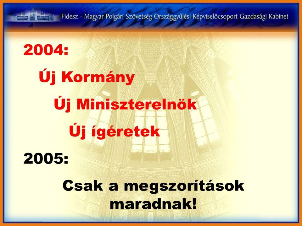2004: Új Kormány Új Miniszterelnök Új ígéretek 2005: Csak a megszorítások maradnak!