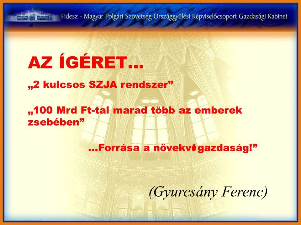 """AZ ÍGÉRET… """"2 kulcsos SZJA rendszer """"100 Mrd Ft-tal marad több az emberek zsebében …Forrása a növekv ő gazdaság! (Gyurcsány Ferenc)"""