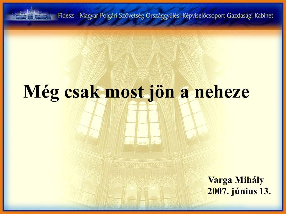 Még csak most jön a neheze Varga Mihály 2007. június 13.