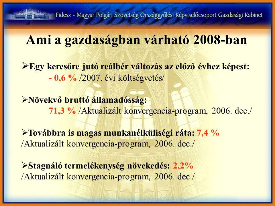 Ami a gazdaságban várható 2008-ban  Egy keresőre jutó reálbér változás az előző évhez képest: - 0,6 % /2007.