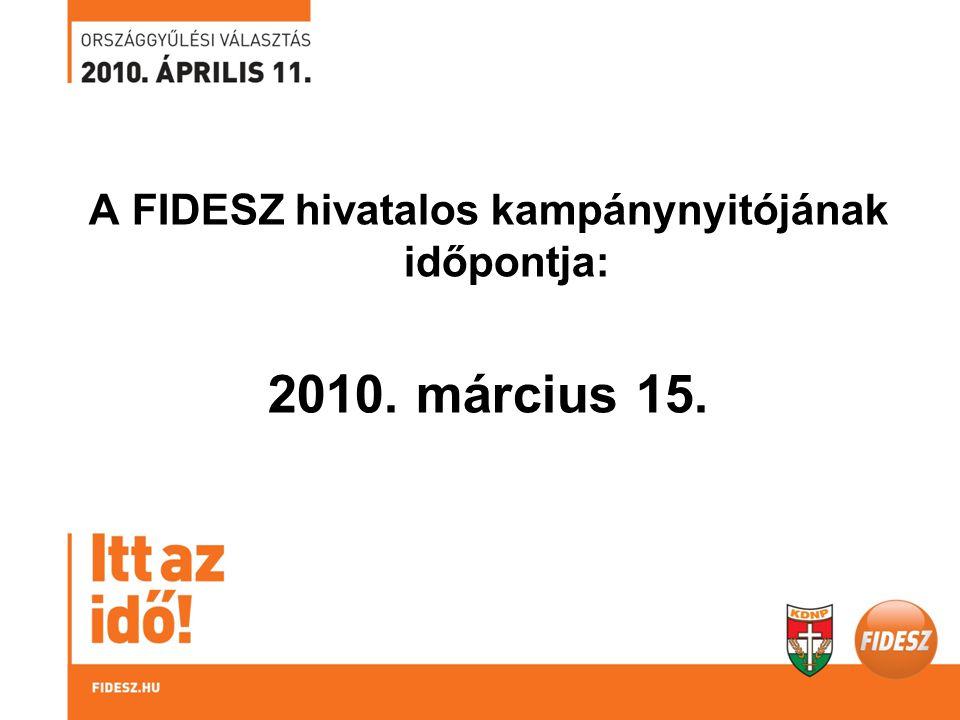 A FIDESZ hivatalos kampánynyitójának időpontja: 2010. március 15.