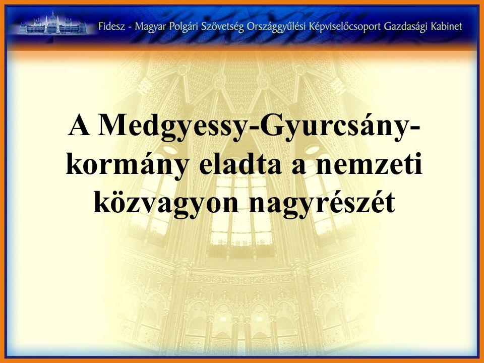 A Medgyessy-Gyurcsány- kormány eladta a nemzeti közvagyon nagyrészét