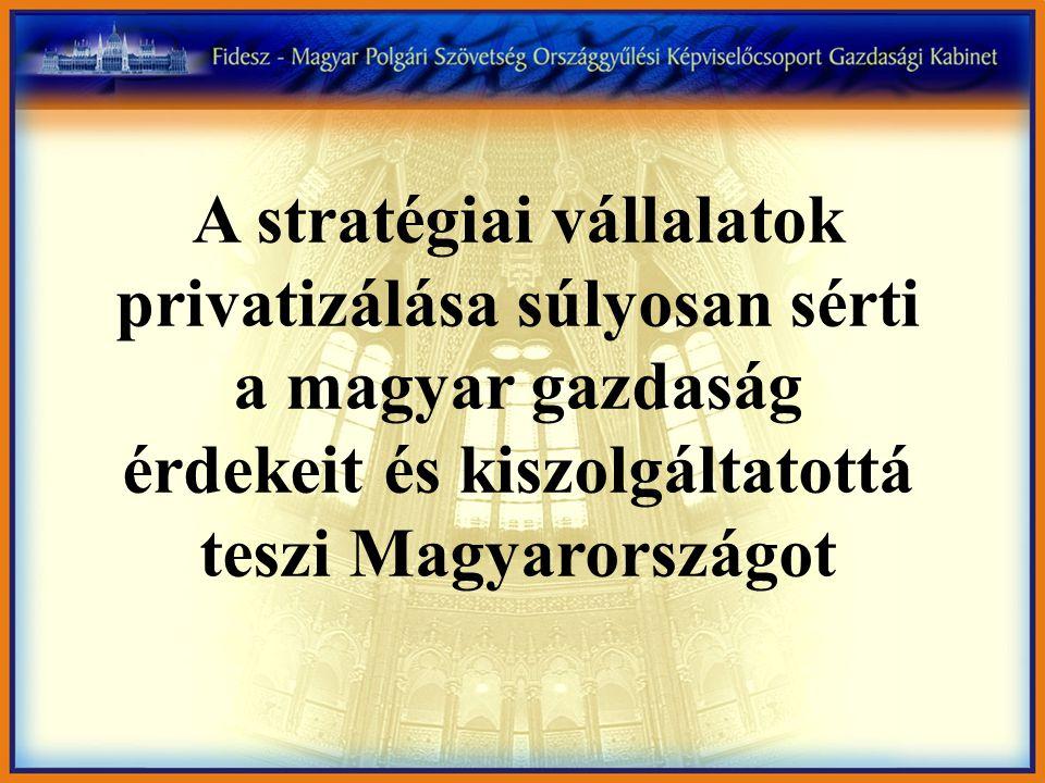 A stratégiai vállalatok privatizálása súlyosan sérti a magyar gazdaság érdekeit és kiszolgáltatottá teszi Magyarországot