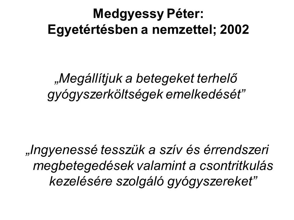 """""""Megállítjuk a betegeket terhelő gyógyszerköltségek emelkedését """"Ingyenessé tesszük a szív és érrendszeri megbetegedések valamint a csontritkulás kezelésére szolgáló gyógyszereket Medgyessy Péter: Egyetértésben a nemzettel; 2002"""