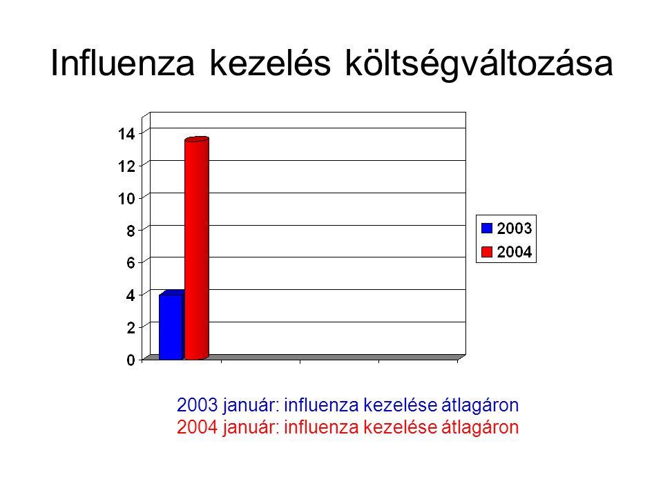 Influenza kezelés költségváltozása 2003 január: influenza kezelése átlagáron 2004 január: influenza kezelése átlagáron