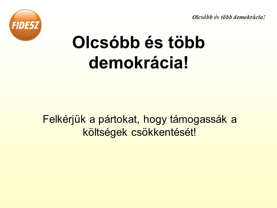 Olcsóbb és több demokrácia! Felkérjük a pártokat, hogy támogassák a költségek csökkentését!