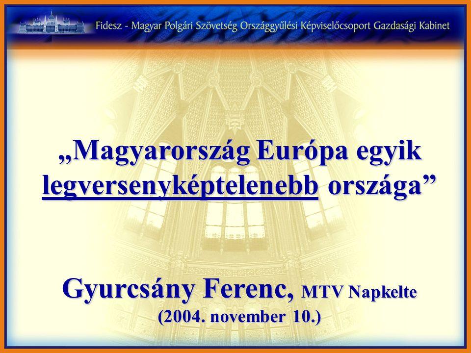 """""""Magyarország Európa egyik legversenyképtelenebb országa"""" Gyurcsány Ferenc, MTV Napkelte (2004. november 10.)"""