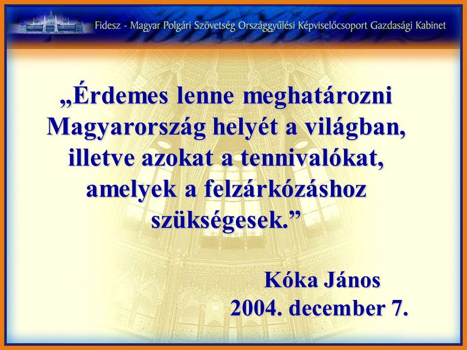 """""""Érdemes lenne meghatározni Magyarország helyét a világban, illetve azokat a tennivalókat, amelyek a felzárkózáshoz szükségesek. Kóka János Kóka János 2004."""