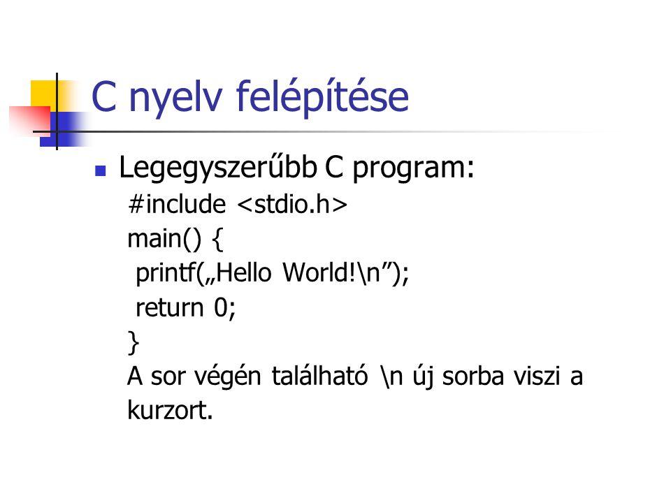 """C nyelv felépítése Legegyszerűbb C program: #include main() { printf(""""Hello World!\n""""); return 0; } A sor végén található \n új sorba viszi a kurzort."""