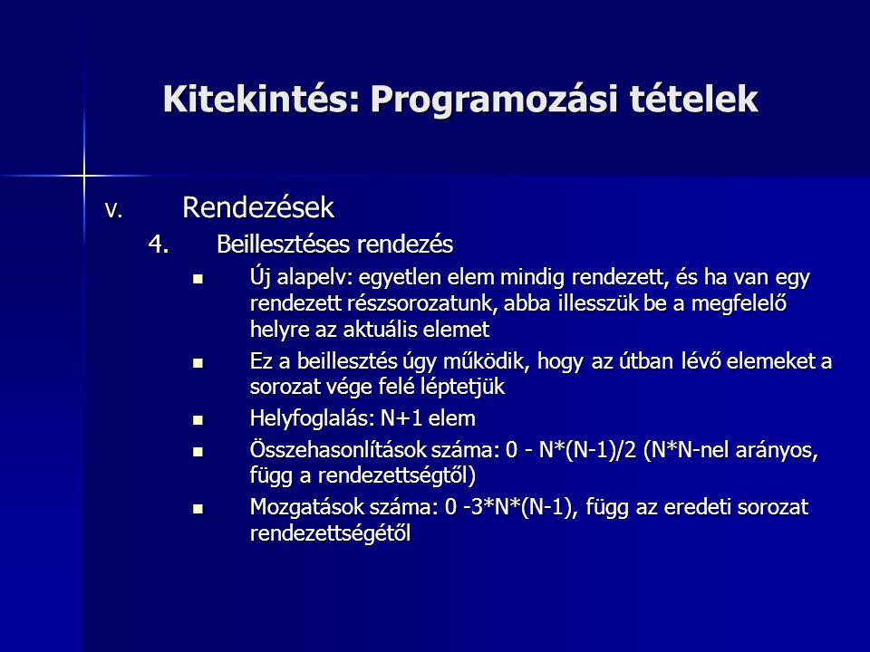 Kitekintés: Programozási tételek V. Rendezések 4.Beillesztéses rendezés Új alapelv: egyetlen elem mindig rendezett, és ha van egy rendezett részsoroza