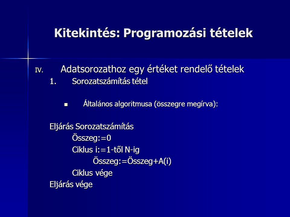 Kitekintés: Programozási tételek IV. Adatsorozathoz egy értéket rendelő tételek 1.Sorozatszámítás tétel Általános algoritmusa (összegre megírva): Álta
