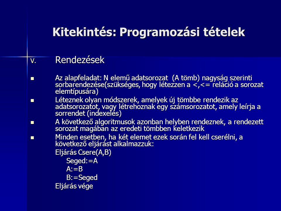 Kitekintés: Programozási tételek V. Rendezések Az alapfeladat: N elemű adatsorozat (A tömb) nagyság szerinti sorbarendezése(szükséges, hogy létezzen a