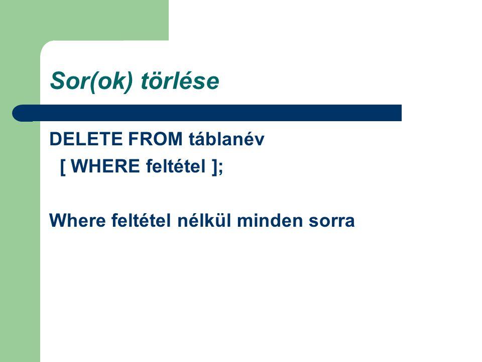 Sor(ok) törlése DELETE FROM táblanév [ WHERE feltétel ]; Where feltétel nélkül minden sorra