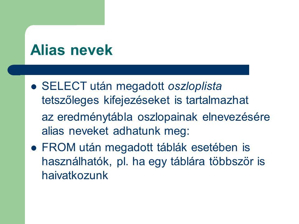 Alias nevek SELECT után megadott oszloplista tetszőleges kifejezéseket is tartalmazhat az eredménytábla oszlopainak elnevezésére alias neveket adhatun