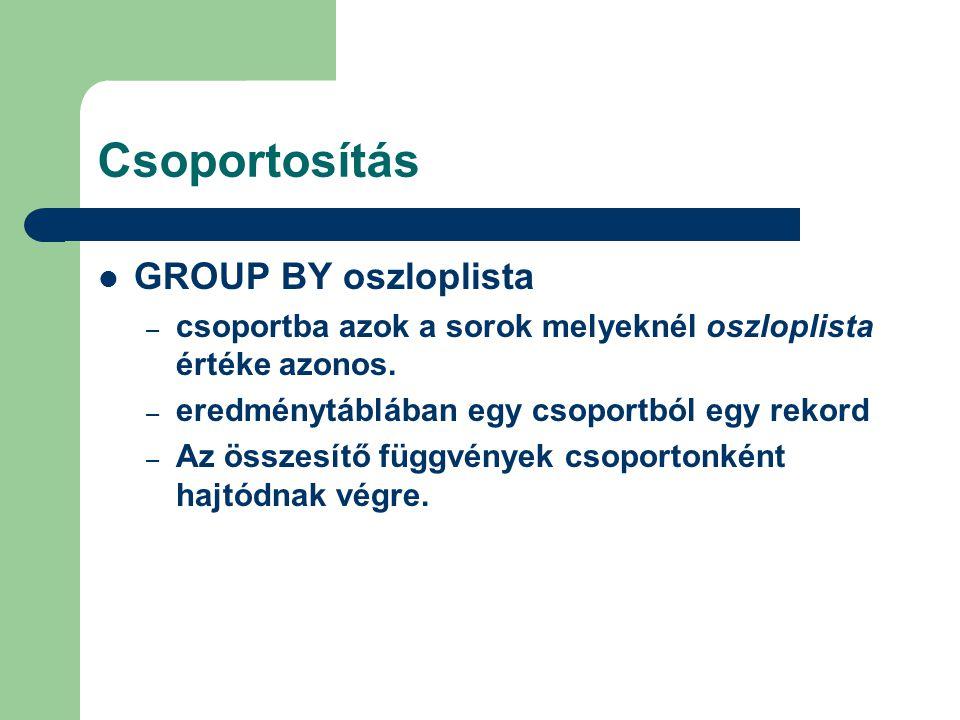 Csoportosítás GROUP BY oszloplista – csoportba azok a sorok melyeknél oszloplista értéke azonos. – eredménytáblában egy csoportból egy rekord – Az öss