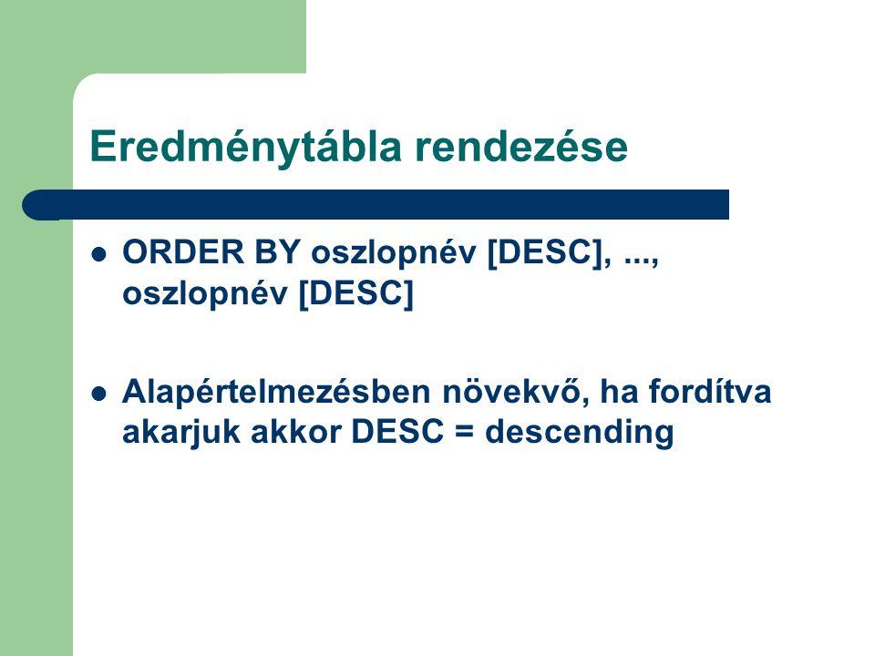 Eredménytábla rendezése ORDER BY oszlopnév [DESC],..., oszlopnév [DESC] Alapértelmezésben növekvő, ha fordítva akarjuk akkor DESC = descending