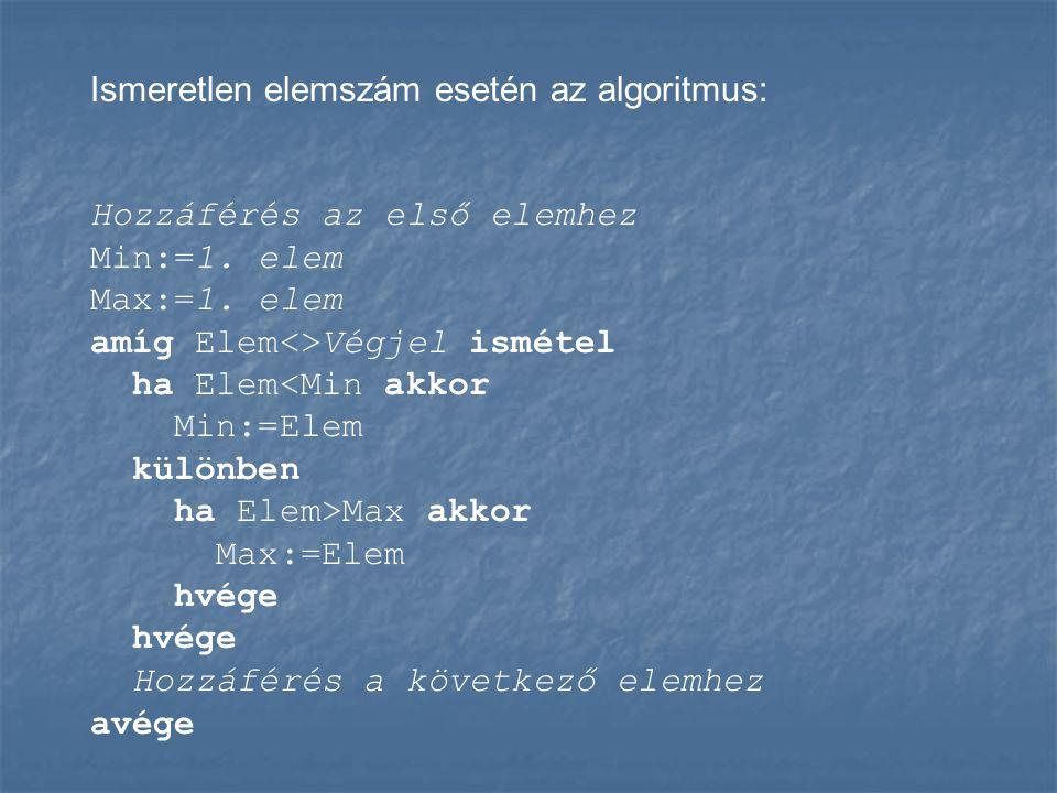 Ismeretlen elemszám esetén az algoritmus: Hozzáférés az első elemhez Min:=1. elem Max:=1. elem amíg Elem<>Végjel ismétel ha Elem<Min akkor Min:=Elem k