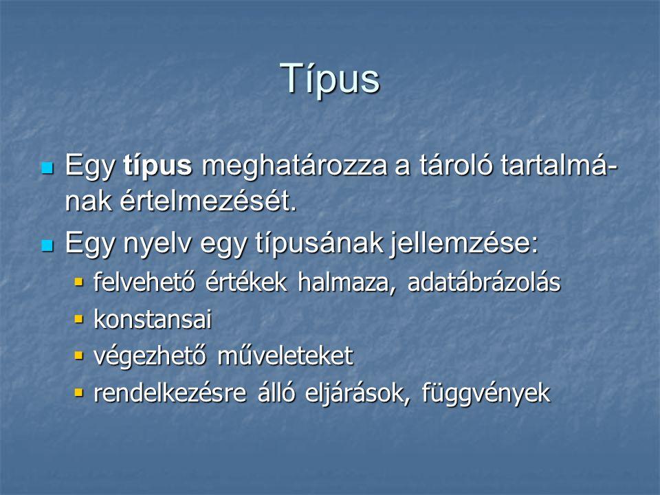 Típus Egy típus meghatározza a tároló tartalmá- nak értelmezését. Egy típus meghatározza a tároló tartalmá- nak értelmezését. Egy nyelv egy típusának