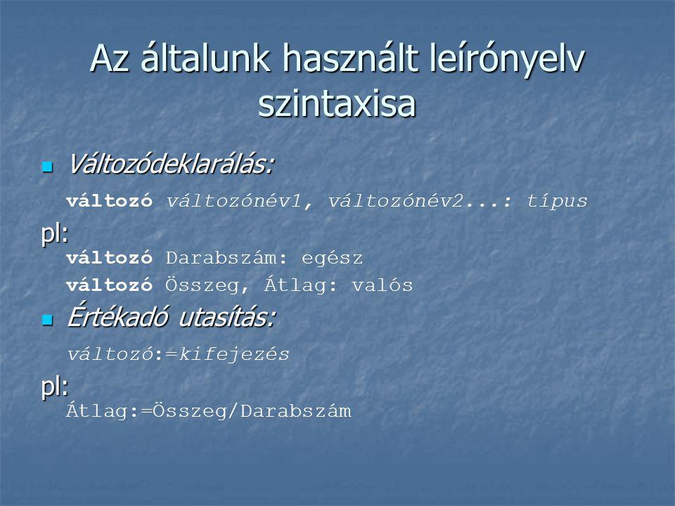 Az általunk használt leírónyelv szintaxisa Változódeklarálás: Változódeklarálás: változó változónév1, változónév2...: típus pl: pl: változó Darabszám: