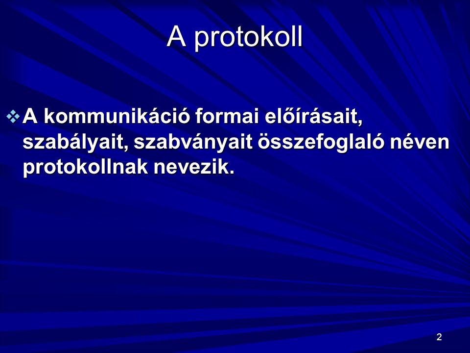 2 A protokoll  A kommunikáció formai előírásait, szabályait, szabványait összefoglaló néven protokollnak nevezik.