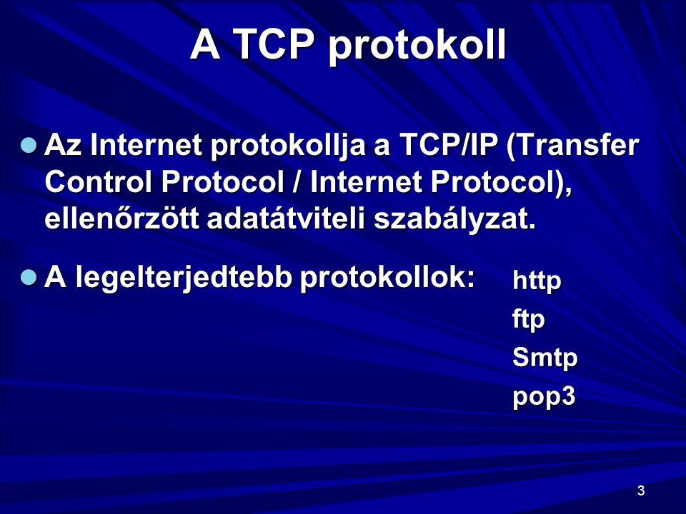 3 A TCP protokoll Az Internet protokollja a TCP/IP (Transfer Control Protocol / Internet Protocol), ellenőrzött adatátviteli szabályzat. Az Internet p