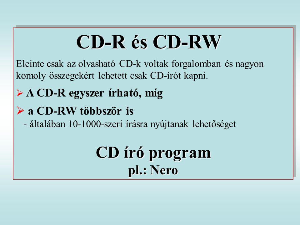 CD-R és CD-RW Eleinte csak az olvasható CD-k voltak forgalomban és nagyon komoly összegekért lehetett csak CD-írót kapni.