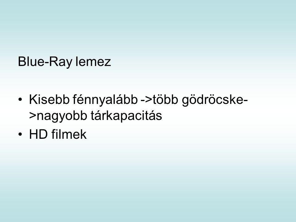 Blue-Ray lemez Kisebb fénnyalább ->több gödröcske- >nagyobb tárkapacitás HD filmek