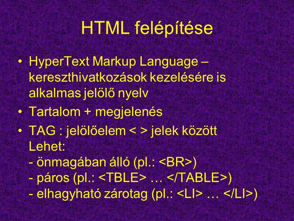 HTML felépítése HyperText Markup Language – kereszthivatkozások kezelésére is alkalmas jelölő nyelv Tartalom + megjelenés TAG : jelölőelem jelek között Lehet: - önmagában álló (pl.: ) - páros (pl.: … ) - elhagyható zárotag (pl.: … )