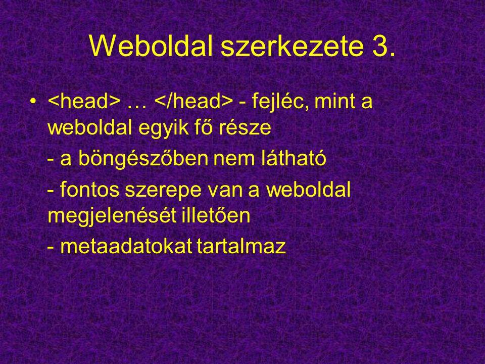 Weboldal szerkezete 3. … - fejléc, mint a weboldal egyik fő része - a böngészőben nem látható - fontos szerepe van a weboldal megjelenését illetően -