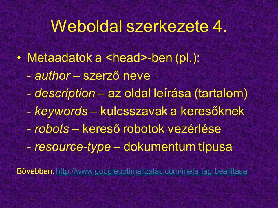 Weboldal szerkezete 4. Metaadatok a -ben (pl.): - author – szerző neve - description – az oldal leírása (tartalom) - keywords – kulcsszavak a keresőkn