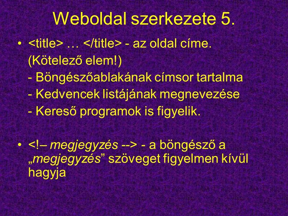 Weboldal szerkezete 5. … - az oldal címe. (Kötelező elem!) - Böngészőablakának címsor tartalma - Kedvencek listájának megnevezése - Kereső programok i
