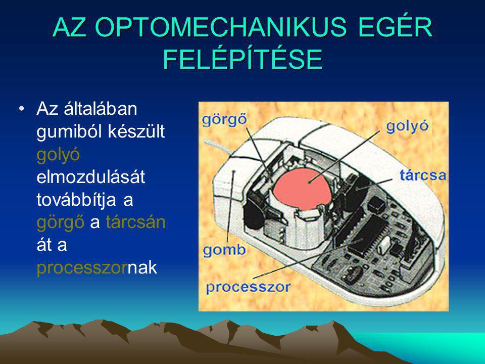 AZ OPTIKAI EGÉR MŰKÖDÉSI ELVE Az optikai egérnek se golyója se görgője nincs.