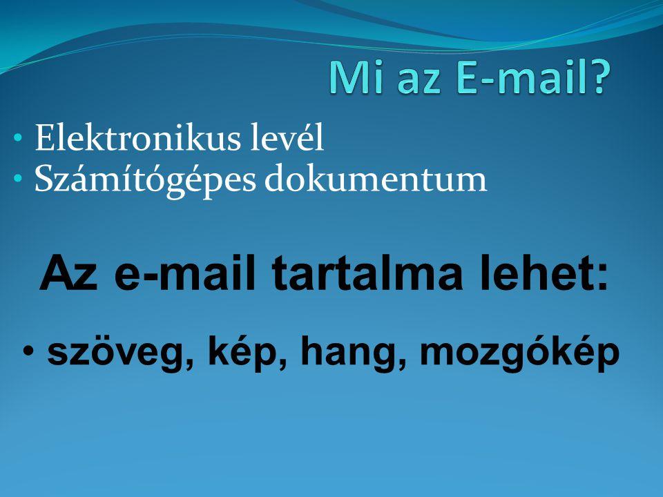 Elektronikus levél Számítógépes dokumentum szöveg, kép, hang, mozgókép Az e-mail tartalma lehet: